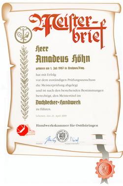 Meisterbrief Dachdeckerhandwerk Amadeus Höhn