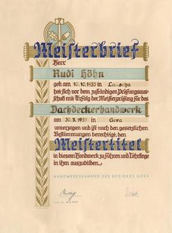 Meisterbrief im Dachdeckerhandwerk von Rudi Höhn