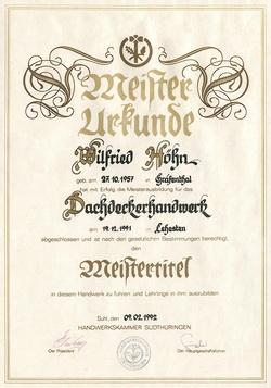 Meisterbrief Dachdeckerhandwerk Wilfried Höhn