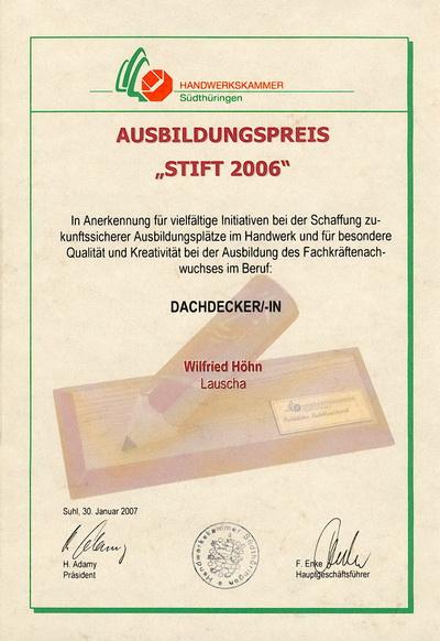 """Ausbildungspreis """"STIFT 2006"""" Amadeus Höhn"""
