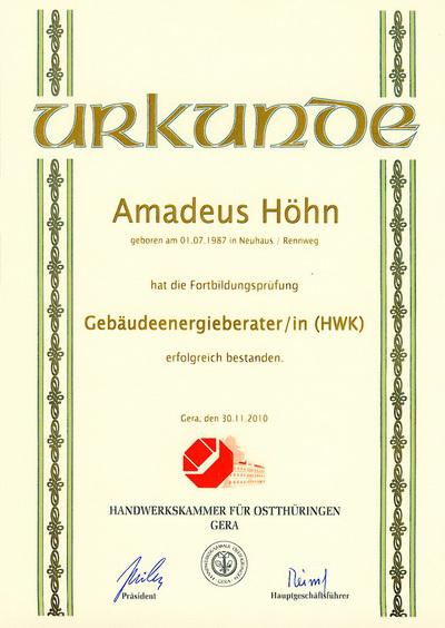 Gebäudeenergieberater HWK Amadeus Höhn